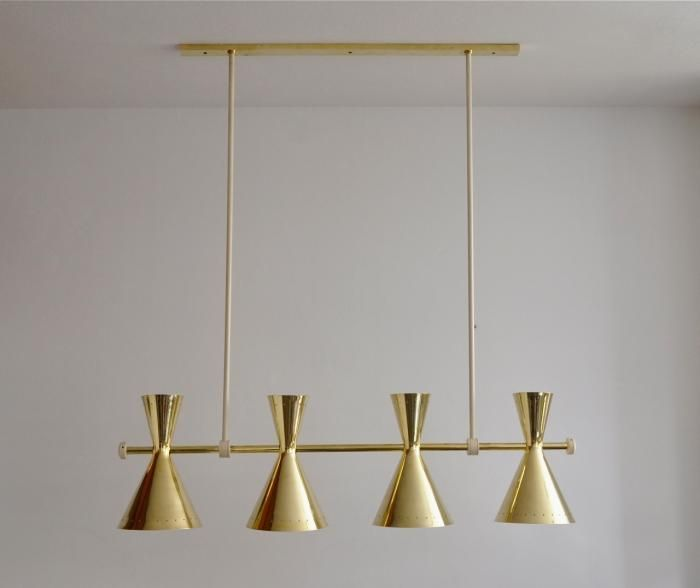 Anonymous; Brass Ceiling Light, 1950s.