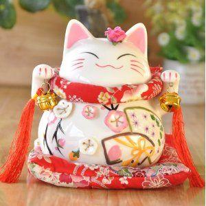 Maneki Neko - Weiße Japanische Glückskatze - Winkekatze aus feinem Porzellan, als Spardose und Glücksbringer: Amazon.de: Küche & Haushalt