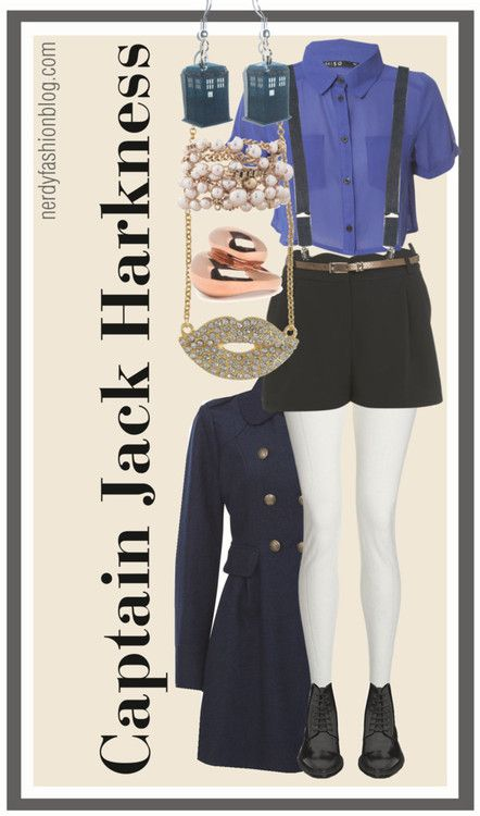 I actually don't love the shorts but the outfit is pretty great, the accessories are killer!    Captain Jack Harkness | Doctor Who / Torchwood by chelsealauren10