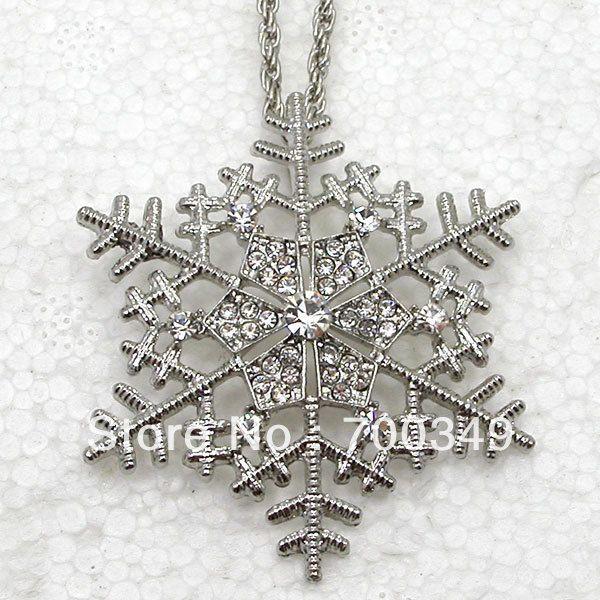12 piece/lot прозрачный кристалл горный хрусталь снежинка формирует ожерелья с подвеской свадьба цветок ювелирные изделия F387