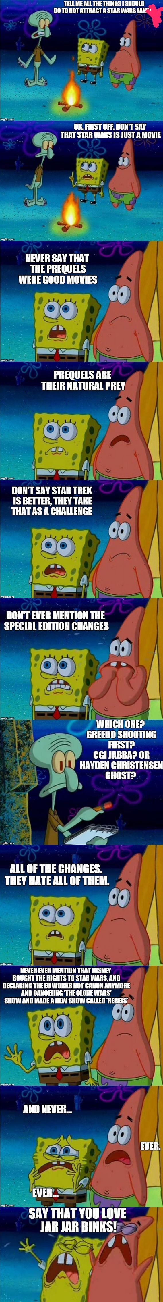 I have no problem with the prequels, or the special edition changes, because I have also seen the originals without the changes and I really don't mind.