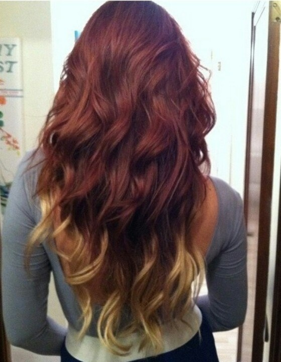 Red Hair & Blonde Tips | Hair Color | Pinterest