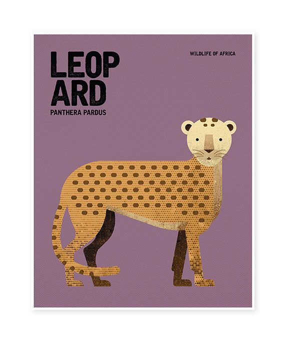 LEOPARD Wildlife of Africa Nursery Rustic Retro Vintage Minimal Design Animal Poster Wall Art Print | Nursery prints wall art prints australia notebooks journals greeting cards bookmarks gift tags stickers greeting cards postcards shop online @ Red Rabbit Republic Australia