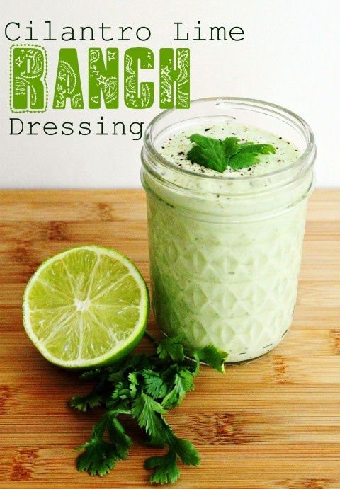 "Cilantro Lime Ranch Dressing    ""Traditional homemade ranch dressing is amazing by itself, but add cilantro, lime, and garlic, and you've got yourself liquid gold!  Enjoy it on salads, as a dip for veggies or chips, or just by the spoonful!     Ingredients:    ¾ cup light mayo  ¾ cup greek y"