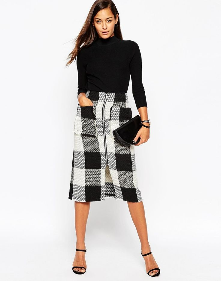 Midi Skirt in Wool Mix Check With Zip Front. Black & white skirt outfit. More skirts to wear this fall >>> http://justbestylish.com/10-stylish-skirts-to-wear-this-fall/