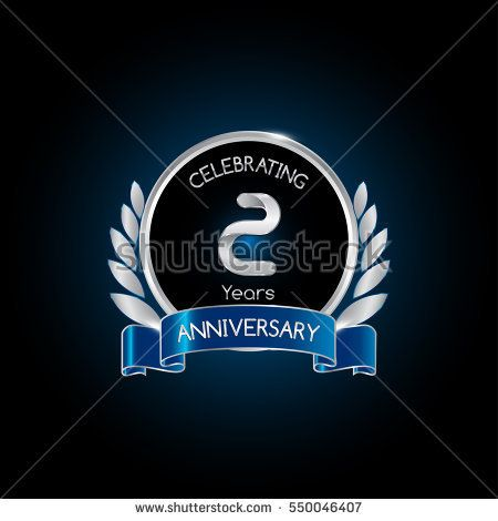 2 years silver anniversary celebration logo with blue ribbon , isolated on dark background