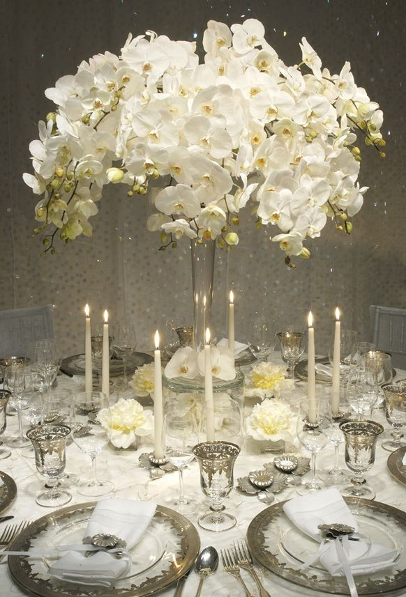 Vintage White & Silver Tablescape:: Orchid Centerpiece is Amazing !