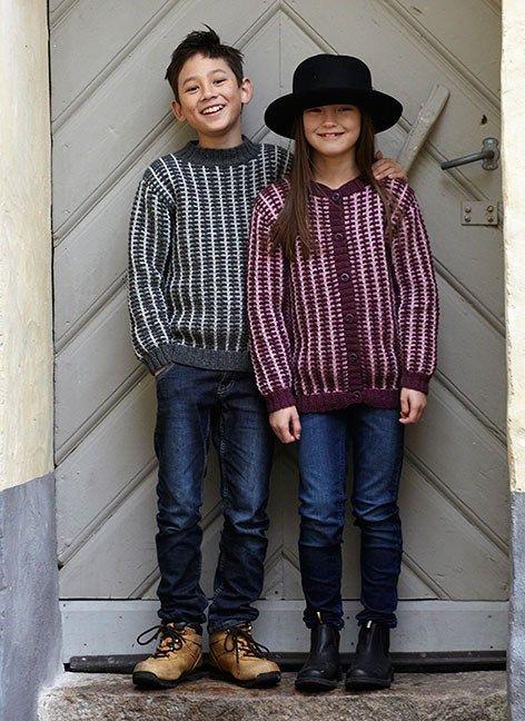Bild på Stickmönster till barnkofta och tröja i Freja, Matilda, Soft Lama eller 3-trådigt ullgarn