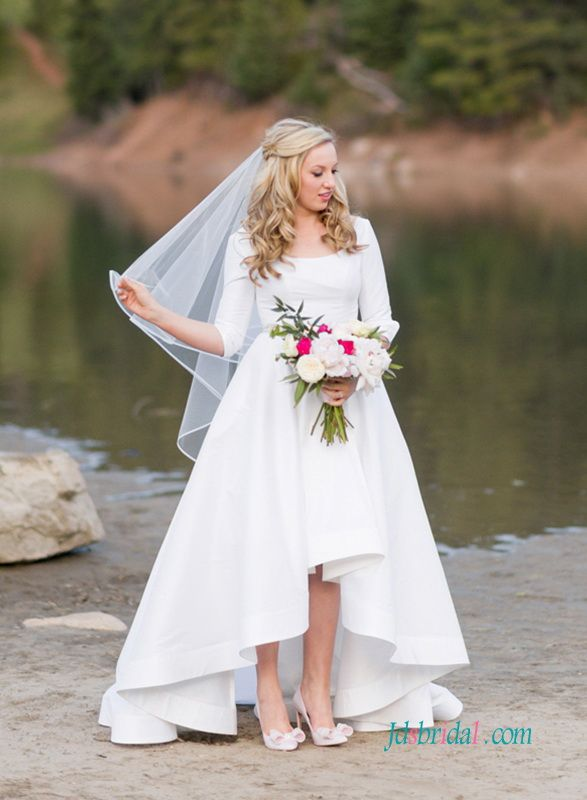 H1343 Simple high low hemline taffeta wedding dress with sleeves