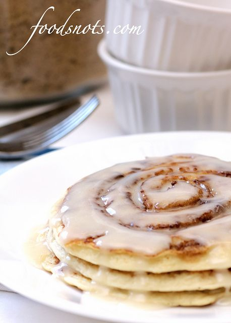 In need of a little over the top sometimes: Cinnamon Roll Pancakes. (Hello to a new fave blog!)