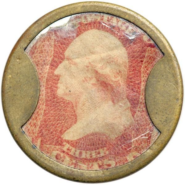 """""""JOHN SHILLITO & CO."""" EP-56, HB-217, S-161 3¢. EF The 3¢ is the second most common denomination for this issuer. Although the second most common denomination the tern is relative because this merchant issue is scarce in all denominations. This piece has an extremely attractive, original and problem-free case with traces of original luster remaining around the lettering on the reverse. The mica displays some moderate crazing, and the stamp is a little dull and wrinkly but the overall…"""
