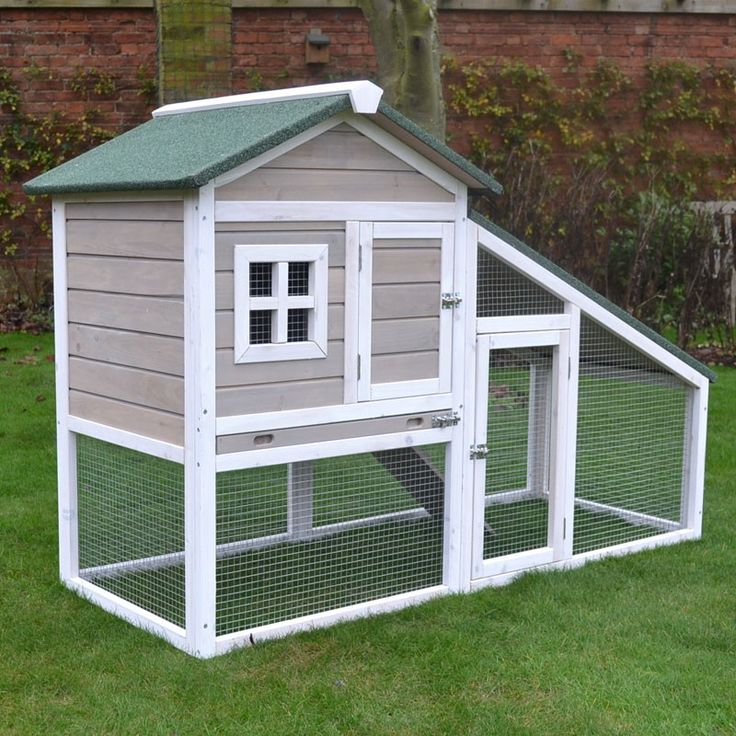 Grey Bunny Ark Rabbit Hutch Guinea Pig House Cage Pen With