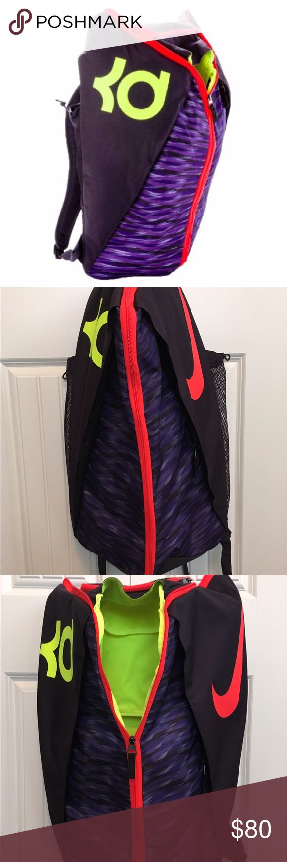 Nike KD Max Air VIII Basketball Backpack Nike KD Max Air VIII Basketball Backpack in purple/neon yellow. This bag fits everything you need to take to the court with you: basketball, pair of shoes, change of clothes, water, towel, hat, and a snack. Not only is it super functional, but it's so cool too! Nike Bags Backpacks