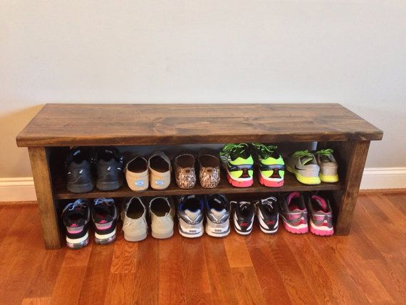48 shoe rack bench with boot cubby two tone by