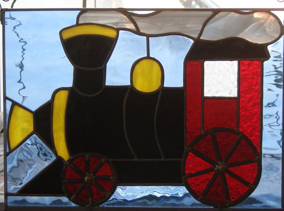 Stained Glass Locomotive by MagicMoons on Etsy, $75.00