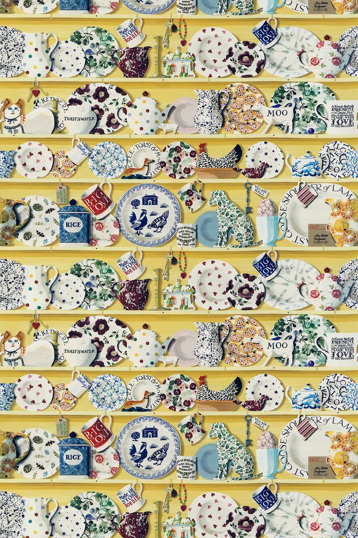 The Dresser Lion Yellow/Multi (223456) - Emma Bridgewater Fabrics - The stunning digital wallpaper design has been translated into this richly detailed fabric - with shelves full of Emma Bridgewater china and trinkets. Shown in the bold lion yellow colourway. Please request sample for true colour and texture.