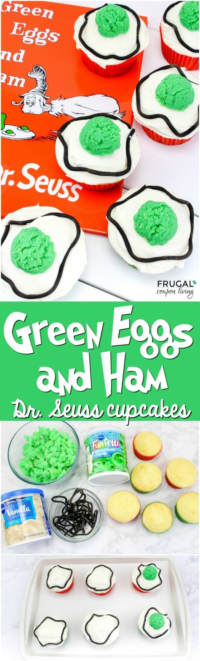 Dr. Seuss Day Green Eggs and Ham Dr. Seuss Cupcakes. Made with boxed cake mix an...