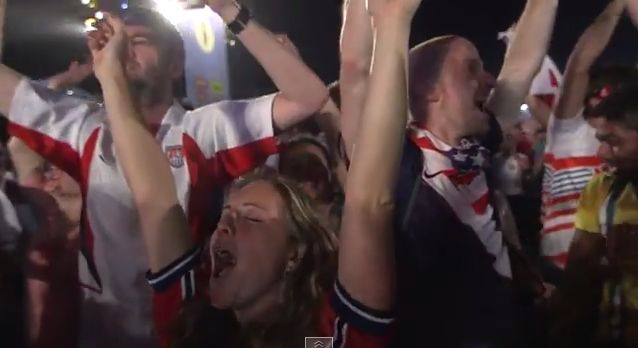 Watch USA Fans in Brazil React to the Epic, Last-Minute Win vs. Ghana #WorldCup #FIFA2014 #Soccer