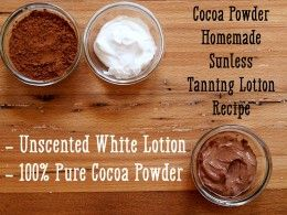 Recipe for cocoa powder sunless tanning lotion.