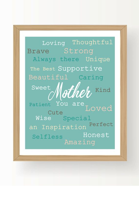 Mother's Day Gift , Valentine's Day Gift , Mother Print , Mother's Day Printable , Family Gift , Mother Quote - Printable File, Digital file