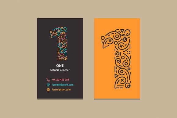 Number 1 Logo Business card. Graphic Design Infographics. $5.00