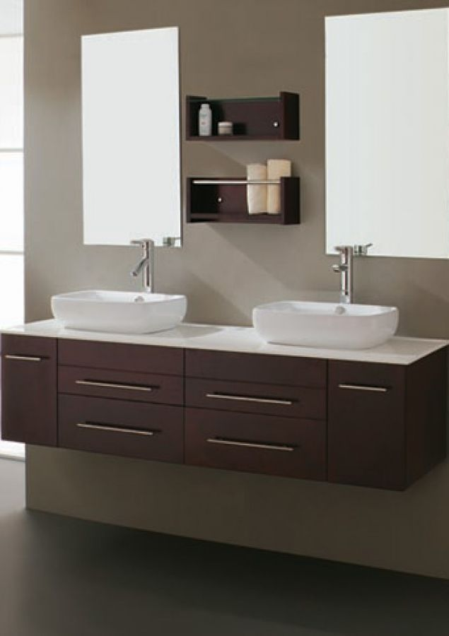 Modern Bathroom Vanity 59 Inch Modern Double Sink Bathroom Vanity With Vessel Floating Bathroom Vanities Modern Bathroom Modern Bathroom Vanity
