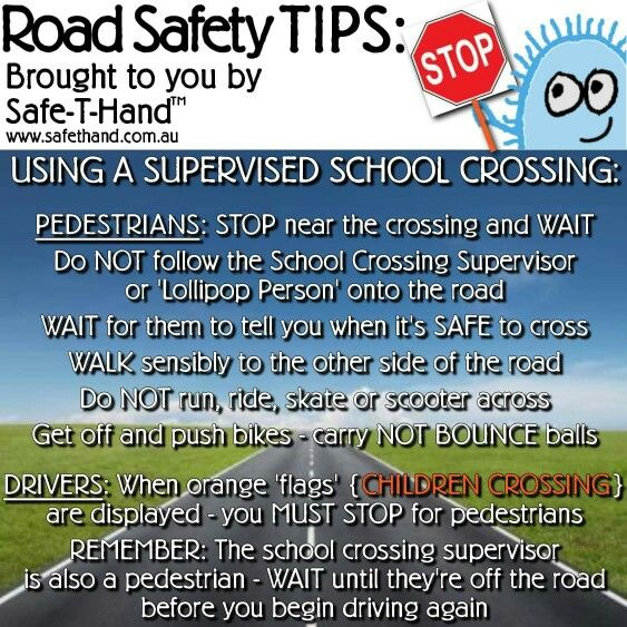 Tuesday's Road Safety Tip: 'Supervised School Crossings'  Whether you use Pedestrian or Zebra Crossings - share today's tip with your child... www.facebook.com/SafeTHand.ChildSafetyAroundCars  #roadsafety #tips #safethand