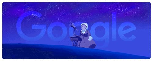 """Caroline Herschel's 266th birthday  Google published this Doodle on her 266th birthday (16th March 2016) to celebrate the legendary astronomer and her achievements.  Caroline, in 1828, became the first woman to receive the honour of the Gold Medal of the Royal Astronomical Society (RAS) - before Vera Rubin in 1996 - """"for her recent reduction, to January, 1800, of the [2,500] Nebulæ discovered by her illustrious brother, William Herschel."""