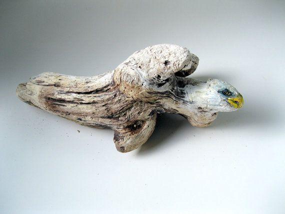 Eagle Painted Driftwood, Driftwood, Eagle, Beach Decor, Bird of Prey, Desk Decor,  by gardenstones on etsy