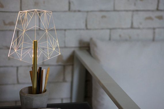 Beautiful modern desk lamp that also functions as a desk organizer , segmented laser engraved office decorative lamp and pen holder. WIRED A-type