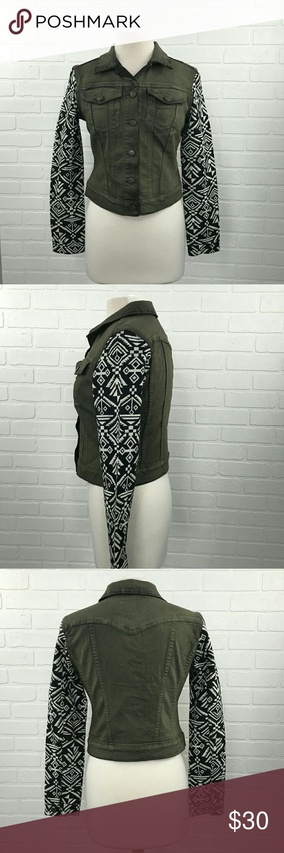 JS Jessica Simpson Pixie Light Weight Tribal Color        : Green Style         : Jacket Brand       : Jessica Simpson Size          : Women's Medium Materials : Cotton- polyester Inventory  : Q49 Jessica Simpson Jackets & Coats