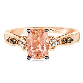 14ct Strawberry Gold Sea Peach Morganite & Diamond Ring - Product number 2982617