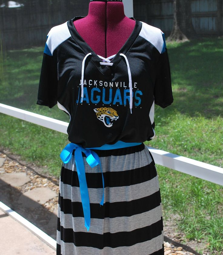 Jacksonville Jaguars Game Day Short Sleeve Dress with ribbon tie Upcycled Shirt Size XL Ready to ship by gamedaychicflorida on Etsy