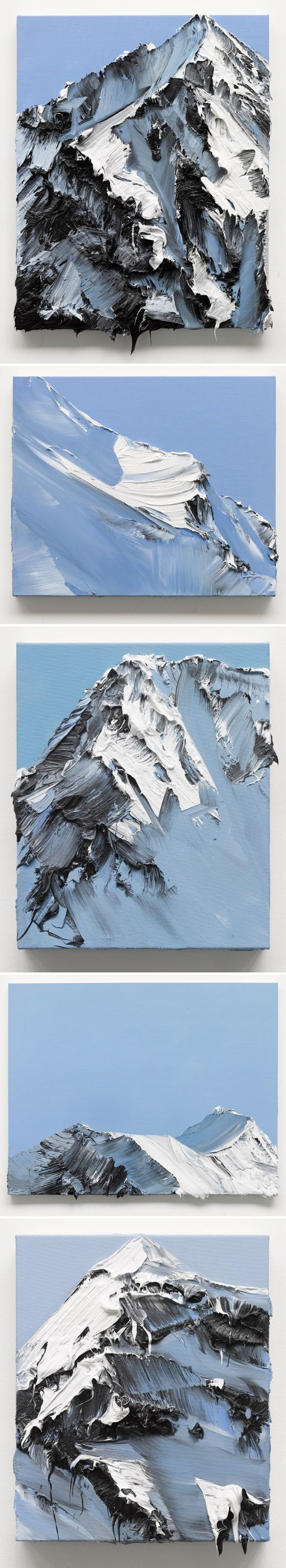 ? - ? I love how the artist has created convincing mountain-scapes with simple and angled strokes of a palette knife.