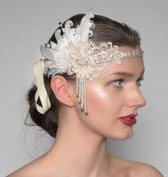 "Cream White Lace + Feathers Flapper Crystal Headband ""Zia"" Gatsby Art Deco Bridal Fascinator 1920s"