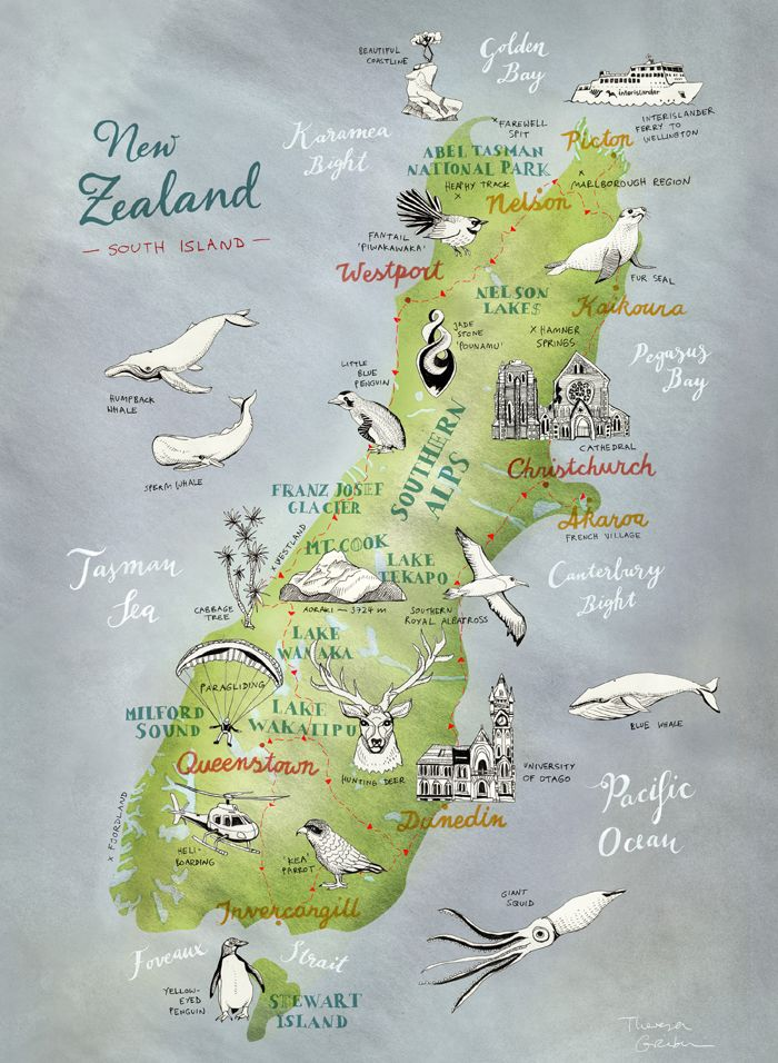 Map of New Zealand, South Island – illustrated map by Theresa Grieben