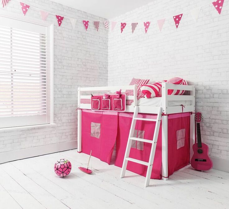Pretty Pink Ontario Midsleeper Shorty Cabin Bed in Pink | £119.99 | #CabinBed #KidsBed #HomeDecor
