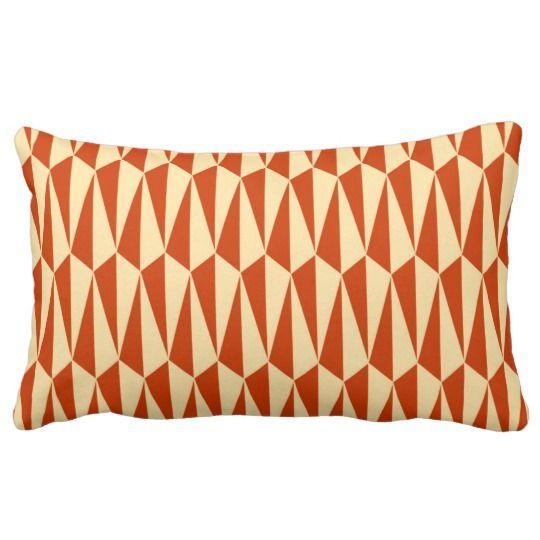 Mid Century Modern Geometric Shades Of Orange Lumbar Pillow Zazzle Com Orange Throw Pillows Orange Pillows Midcentury Throw Pillows