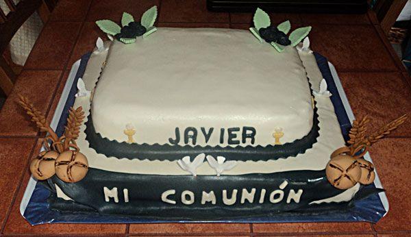 tarta #comunión #azul #marino