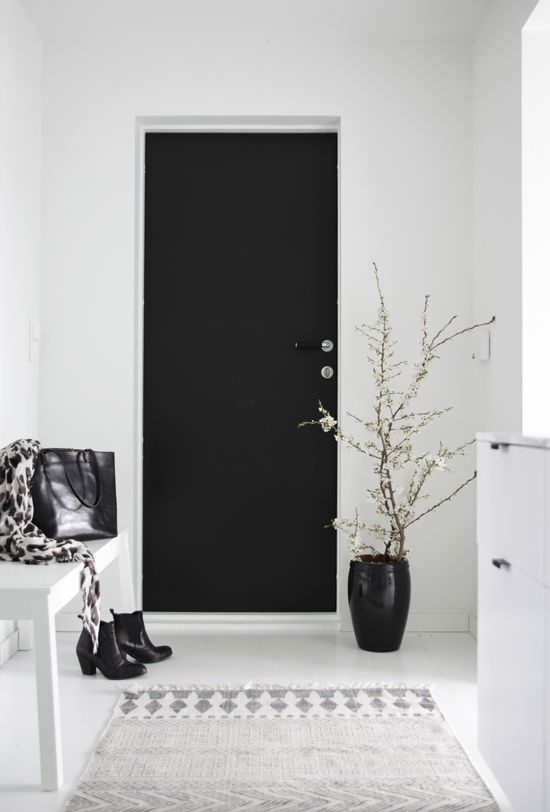 b/w entry hall - love the black door & planter against the white wall | home design & interior