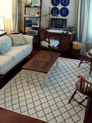 Tutorial: Hand Painted Rug (Diddle Dumpling)  I'd like to do a cream color rug with black stenciling.  Use a rug from IKEA 6 x8 for $40