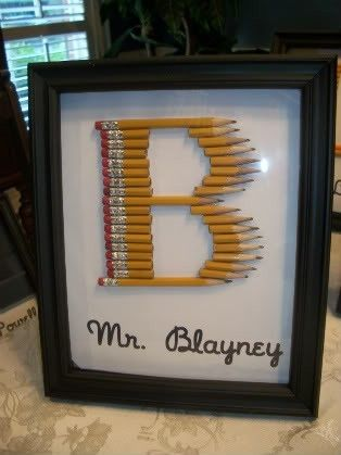Teacher gifts   can use crayons also: Pencil Monogram, Teacher Gifts, Pencil Letter, Teachers Gift, Teacher Appreciation, Craft, Gift Ideas, Appreciation Gift