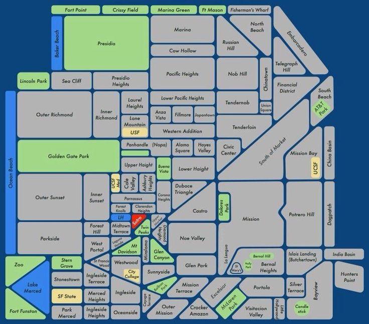 Best Sf Neighborhood Map Ideas On Pinterest San Francisco - San francisco map financial district