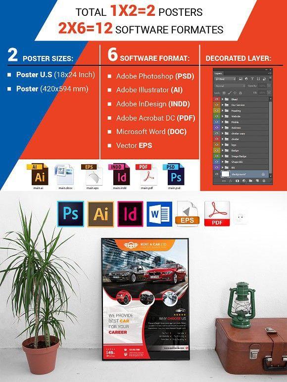 Posters | Rent A Car Vol-05 | Automobile Design | Flyer