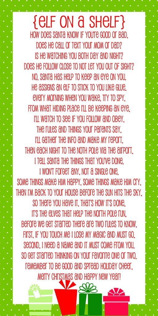 We don't have the regular elf on shelf (we have Christopher & Christina Marie Pop-In-Kins) but here's a cute poem for those that do. What a cute way to introduce the concept to the kids!