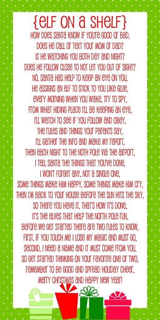 elf on shelf poem, cute for next year