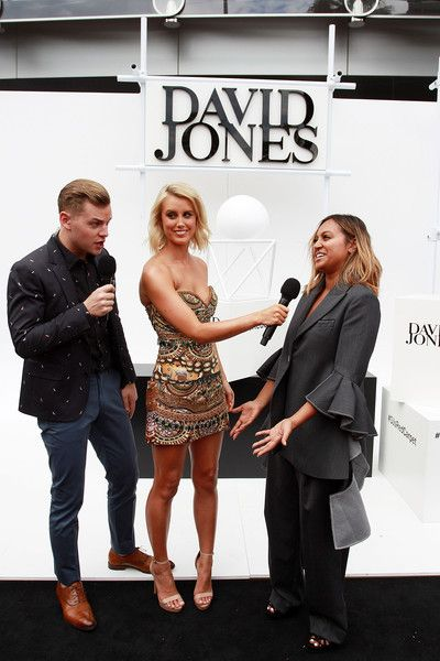 David Jones hosts Joel Creasey, Olivia Phyland speak with Jessica Mauboy ahead of the ARIA Awards 2015 at The Star on November 26, 2015 in Sydney, Australia.