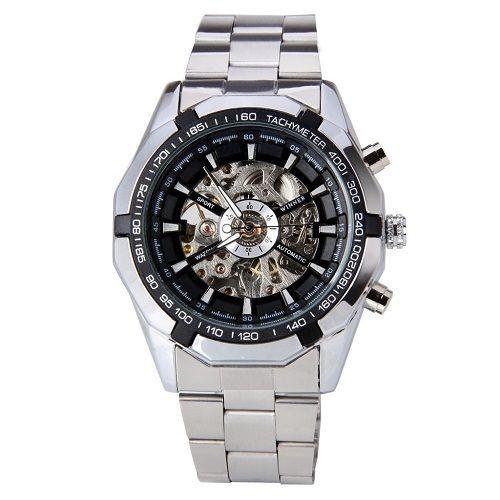 Luxury Brand Winner Men Watch Stainless Steel Skeleton Mechanical Watch #Winner