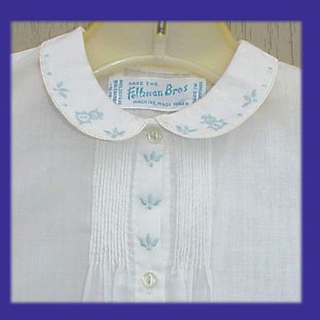 Vintage white  batiste baby dress with floral embroidery, Feltman Brothers.