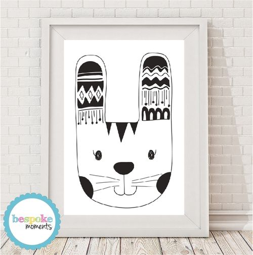 Monochrome Tribal Bunny Print by Bespoke Moments. Worldwide Shipping  Available.